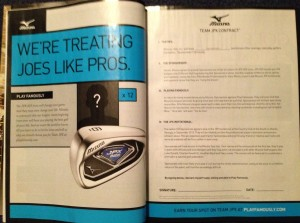 Mizuno's ad in the April issue of GOLF Magazine