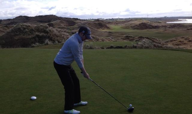 Teeing off on No.7 at Portstewart Golf Club